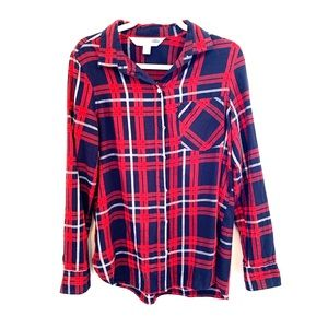 Old Navy The Classic Shirt Navy Blue Red Size M